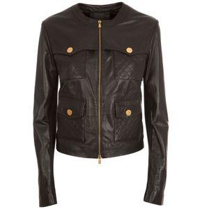 Bi-material jacket in black leather