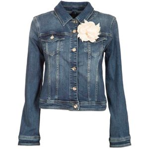 Denim jacket with flower
