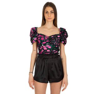 Black top with pink floral pattern