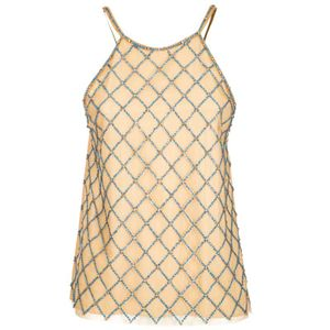 Top with turquoise fishnet jewelry
