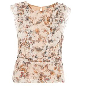 Top in georgette con rouches
