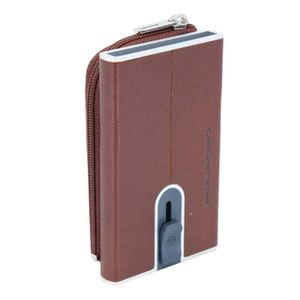 Compact wallet in leather with sliding sy