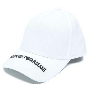 Cappello bianco con logo nero ricamato