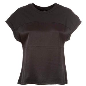 T-shirt nera in raso