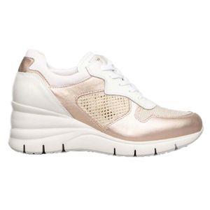 Sneakers in cuoio rosa con zeppa
