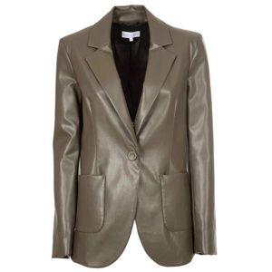 Single button faux leather jacket