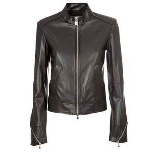Synthetic leather biker jacket