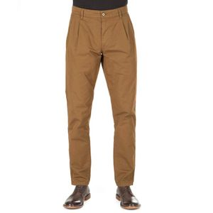 Brown trousers with adjustable waist