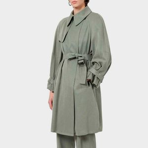 Trench in cupro with waistband