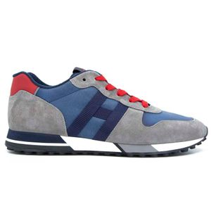 Shoe H383 H Gray and blue ribbon