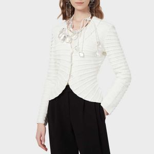 White jacket with rouches