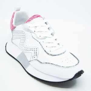 White shoe with perforated upper