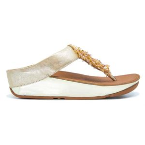 Rumba gold slipper with fringes