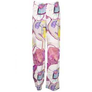 Wide trousers in printed viscose
