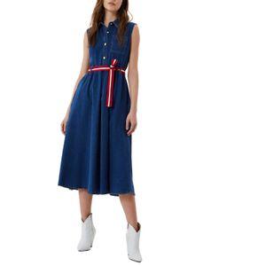 Long denim dress with belt
