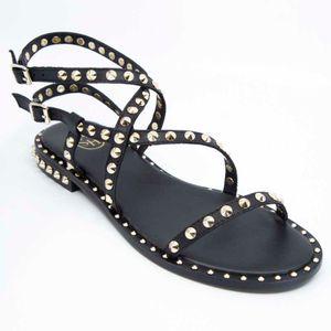 Petra black sandal with studs