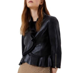 Faux leather jacket with ruffles