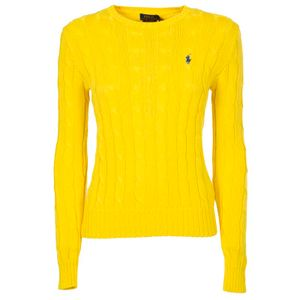Yellow cable-knit cotton pullover