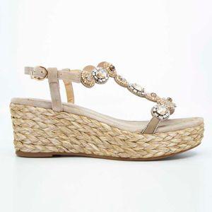 Wedge sandal in rope and rhinestones