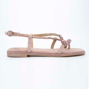 Pink suede sandal with rhinestones