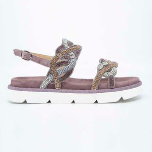 Purple suede sandal with rhinestones