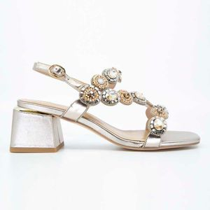 Golden leather sandal with rhinestones