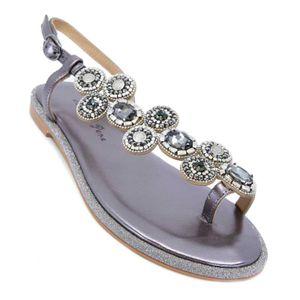Suede flip flops with rhinestones