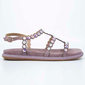 Suede sandal with iridescent rhinestones