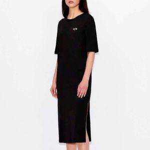 Black dress with rear vertical logo