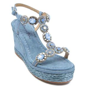 Blue sandal with wedge and rhinestones