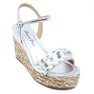 Wedge sandal in rope and studs