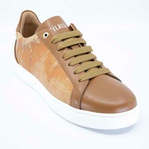 Leather sneakers with Geo print