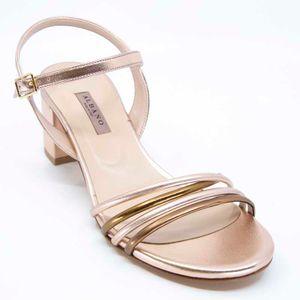 Metallic sandal with heel