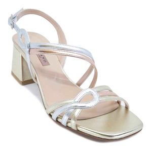 Metallic sandal with golden heel