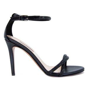 Sandal with rhinestones and stiletto heel