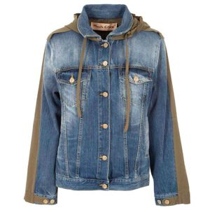 Parka jacket in denim and cotton