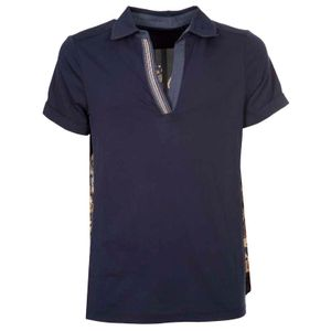 Blue polo shirt printed in double fabric