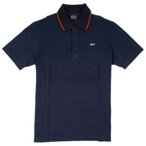 Cotton pique polo shirt with orange shark