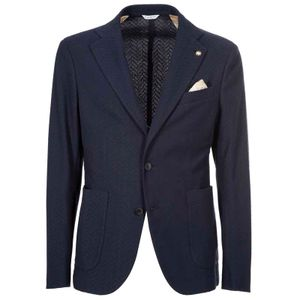Blue herringbone jacket in stretch cotton