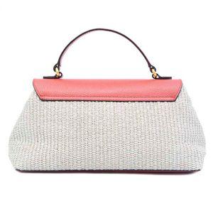 Raffia bag with leather flap