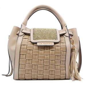 Clarabel handbag in raffia and rhinestones