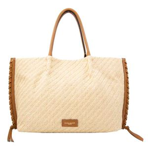 Shopping Bag in raffia and leather