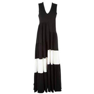 Long two-tone cotton dress