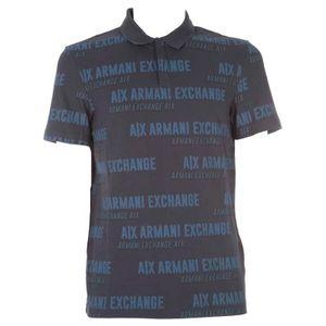 Blue polo shirt in multi-logo cotton