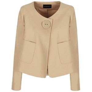 Linen blend jacket with maxi button