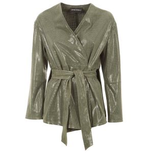 Shiny green leather jacket