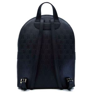 Black backpack in genuine leather with logo