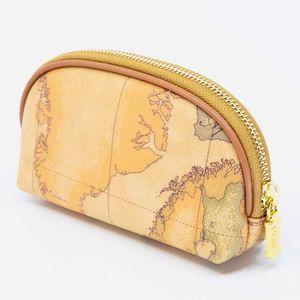Mini Natural coin purse with Geo print