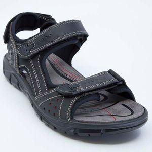 Dark gray sandal with velcro