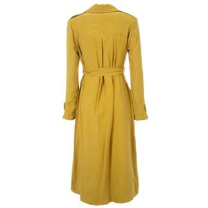 Viscose blend trench coat with belt at the waist